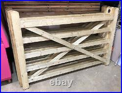 Wooden Driveway Gate Field Style Tanalised Green Treated 5 Bar 6ft