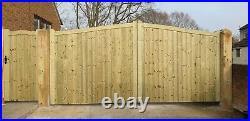 Wooden Driveway Gate Set H6ft W14ft (Gate + Small Gate) Heavy Duty Frame 7cm