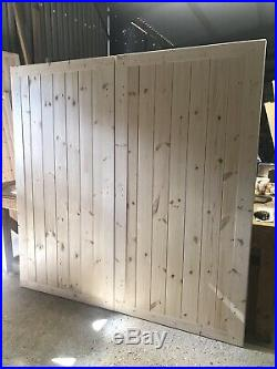 Wooden Driveway Gates 6 High x 6 Wide Boarded Framed All Round New Garden Gate