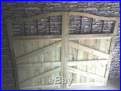 Wooden Driveway Gates, Swan Neck- 6FT HIGH- Pressure Treated, Bespoke Gates