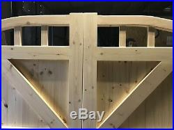 Wooden Driveway Gates Swan Neck Curve Top Gate Boarded With Spindles 5ft High