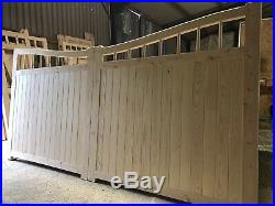 Wooden Driveway Gates Swan Neck New Reverse Arch Top Curved Design Bespoke Sizes