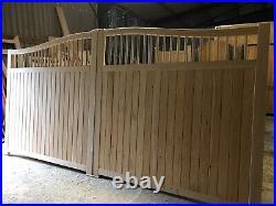 Wooden Driveway Gates Swan Neck Quality Siberian Larch The Elite Harper's Gate