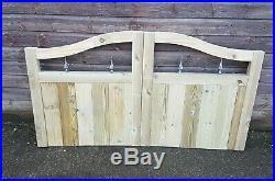 Wooden Driveway Gates, Swan Neck, Slatted, Pressure Treated- 3FT H- Bespoke