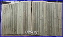 Wooden Driveway Gates, TVG Swan Neck, Pressure Treated, Bespoke Gates- 5ft H
