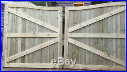Wooden Driveway Gates, TVG Swan Neck, Pressure Treated, Bespoke Gates -6ft H