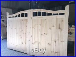 Wooden Gates New Swan Neck Design Driveway Gate Curve Top Custom Made 6ft High