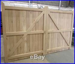 Wooden Oak Driveway Gates Framed, Ledge & Braced Mortice & Tenoned 6ft 1800mm