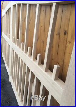 Wooden Oak Open Palisade Driveway Gates Mortice & Tenoned 6ft 1800mm