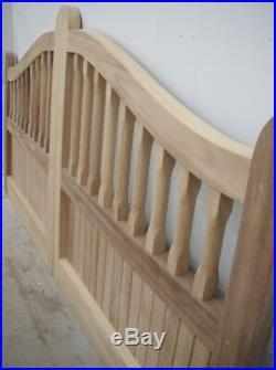 Wooden Oak Swan Neck Palisade Driveway Gates Mortice & Tenoned 5ft 1500mm