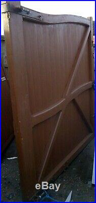 Wooden Privacy Double Driveway Gates Very Heavy Duty Pair Hard Wood