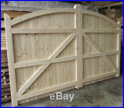 Wooden Softwood Bow Top Driveway Gates Mortice & Tenoned 6ft 1800mm