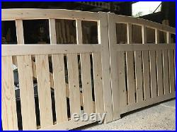 Wooden Swan Neck Driveway Gate Picket 1400mm Rising To 1650mm High X 4100mm wide