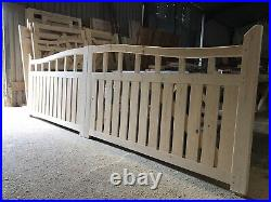Wooden Swan Neck Driveway Gates 4 High X 14 Wide Plus Pedestrian 4 High X 3