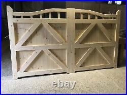 Wooden Swan Neck Driveway Gates 6 High X 10 Wide Plus Matching Single