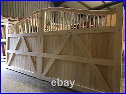 Wooden Swan Neck Gates Driveway Gate Bespoke New Decorative Design Elite Harper