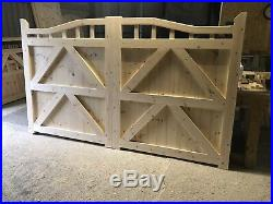 Wooden Swan Neck Gates Garden Driveway Gate Curve Boarded Plus Spindles 6ft High
