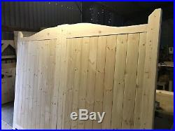 Wooden Swan Neck Gates Solid Curve Top New Boarded Garden Gate Driveway 5ft High