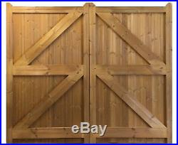 Wooden Treated / Thermowood Pair Of Driveway Garden Gates'wanstrow