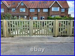 Wooden driveway gate h4ft w11ft heavy duty frame 7x10cm