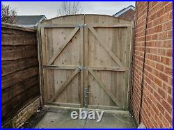 Wooden driveway gates heavy duty ARCHED fully framed pressure treated solid gate