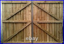 Wooden garden Gate, Driveway gate, Double Gate, Featheredge Gate Heavy Duty